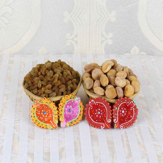 Giftacrossindia Apricot With Raisin And Earthen Diya