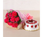 Giftacrossindia Lovely 10 Pink Carnations with Fresh Cream Strawberry Cake (GAIMPHD0513)