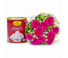 Giftacrossindia Bouquet of Pink Gerberas with Rasgullas (GAIMPHD0415)