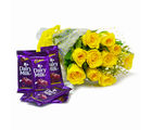 Giftacrossindia Bunch of Ten Yellow Roses with Cadbury Dairy Milk Chocolate Bars (GAIMPHD0138)