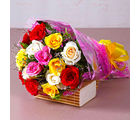 Giftacrossindia Fifteen Mix Roses Bouquet (GAIMPHD0077)