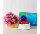 Giftacrossindia Treat of Strawberry Cake with Pink Roses and Chocolates (GAIMPHD0194)