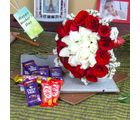 Giftacrossindia Bunch Of Red And White Roses With Assorted Chocolates For Mothers Day