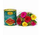 Giftacrossindia Mix Six Roses Bouquet with Gulab Jamuns (GAIMPHD0409)