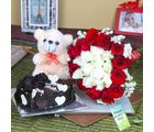 Giftacrossindia Heart Shape Chocolate Cake And Soft Teddy With Roses For Mother
