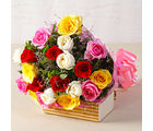 Giftacrossindia Twenty Mix Colour Roses Hand Tied Bouquet (GAIMPHD0063)