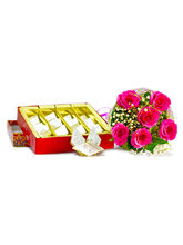 Giftacrossindia Six Pink Roses Bouquet With Box Of...