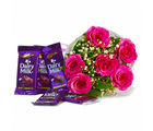 Giftacrossindia Bunch of Six Pink Roses with Cadbury Dairy Milk Chocolate Bars (GAIMPHD0122)