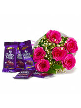 Giftacrossindia Bunch of Six Pink Roses with Cadbury Dairy Milk Chocolate Bars (GAIMPHD0122)