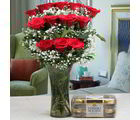 Giftacrossindia Ferrero Rocher Chocolate Box And Red Roses Arrangement (GAIVALHD20190429)
