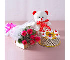Giftacrossindia Bouquet of 6 Pink Roses with 1 kg Butterscotch Cake and Cuddly Bear (GAIMPHD0490)