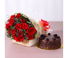 Giftacrossindia Fresh 15 Red Roses Bouquet with Choco Chips Chocolate Cake (GAIMPHD0333)