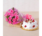 Giftacrossindia Twelve Pink Roses and Strawberry Cake for any Occasion (GAIMPHD0515)