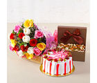 Giftacrossindia Colorful Roses with Half Kg Strawberry Cake and Assorted Dryfruits Combo (GAIMPHD0378)