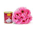 Giftacrossindia Bouquet of Ten Pink Gerberas with Tempting Rasgullas Sweet (GAIMPHD0401)