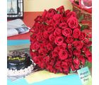 Giftacrossindia Hundred Red Roses Bouquet With Chocolate Cake