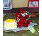 Giftacrossindia Pineapple cake and Roses For Mom