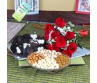 Giftacrossindia Mix Dryfruits With Dark Chocolate Cake And Roses Bouquet