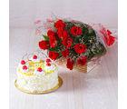 Giftacrossindia Dozen Red Roses with Half Kg Pineapple Cake (GAIMPHD0313)