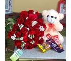 Giftacrossindia Cute Teddy And Chocolates With Fresh Roses For Mothers Day