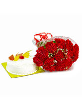 Giftacrossindia Red Carnations Bouquet and Pineapple Cake (GAIMPHD0224)
