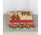 Giftacrossindia Colorful Earthen Diya And Mixed Dry Fruits