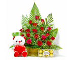 Giftacrossindia Basket of 20 Red Roses with Ferrero Rocher Chocolates and Teddy Bear (GAIMPHD0487)