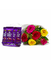 Giftacrossindia Six Mix Roses Bouquet With Bars Of...