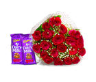 Giftacrossindia Bunch of 20 Red Roses with Mouthmelting Cadbury Fruit and Nut Chocolate Bars (GAIMPHD0142)