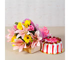Giftacrossindia Fresh Cream Strawberry Cake with Bouquet of Exotic Flowers (GAIMPHD0316)