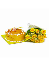 Giftacrossindia Yellow Roses with Butterscotch Cake as Anniversary Gifts (GAIMPHD0256)