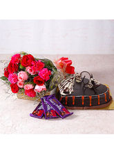 Giftacrossindia Bouquet of Roses and Carnations with Heartshape Cake and Cadbury Chocolates (GAIMPHD0588)