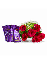 Giftacrossindia Bunch of Six Red Roses with Bars of Cadbury Dairy Milk Chocolates (GAIMPHD0106)
