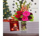 Giftacrossindia Christmas Express Gifts - Christmas Card And Mix Flowers Bouquet For Christmas