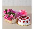 Giftacrossindia Six Pink Roses Bouquet with Round Strawberry Cake (GAIMPHD0321)
