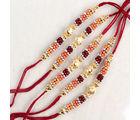Giftacrossindia Royal Five Set of Colorful Designer Beads Rakhi