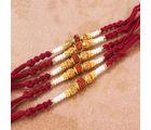 Giftacrossindia Set of Five Rudraksha Rakhi