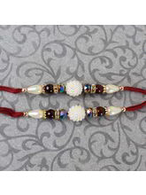 Giftacrossindia Set Of Two Beautiful Pearl Rakhis