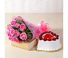 Giftacrossindia Love Ten Special Pink Roses Bunch with Heart Shape Strawberry Cake (GAIMPHD0318)