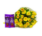 Giftacrossindia Bunch of Twenty Yellow Roses with Cadbury Fruit and Nut Chocolate Bars (GAIMPHD0149)