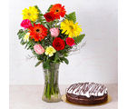 Giftacrossindia Chocolate Cake with Fifteen Assorted Flowers Vase (GAIMPHD0586)