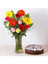 Giftacrossindia Chocolate Cake With Fifteen Assort...
