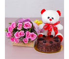 Giftacrossindia Choco Chips Cake with Teddy Bear and Pink Roses Bouquet (GAIMPHD0340)