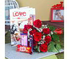 Giftacrossindia Red Roses Bouquet With Assorted Chocolate And Love Greeting Card (GAIVALHD20190359)