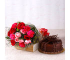 Giftacrossindia Gorgeous Roses With Carnations and Chocolate Cake (GAIMPHD0331)
