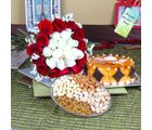 Giftacrossindia Butterscotch Cake With Mix Dryfruits And Roses Bouquet