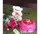 Giftacrossindia Strawberry Cake And Teddy Bear With Fresh Roses For Mothers Day