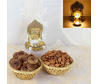 Giftacrossindia Shadow Diya With Dry Fruits Combo