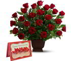 Giftacrossindia Red Roses Arrangement With Valentine Greeting Card (GAIVALHD20190028)