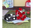 Giftacrossindia Ten Red Roses Bouquet With Heartshape Chocolate Cake For Mom